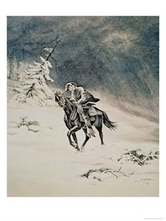 Pony Express Rider in the Sierra Nevada Mountains, 1862 Giclee Print
