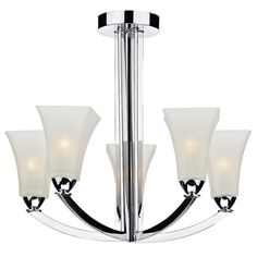 The Arlington Five Light Semi Flush Ceiling Light is a sophisticated fitting that features White Hand Blown Scavo Glass shades and polished chrome frame. Dar ARL0550