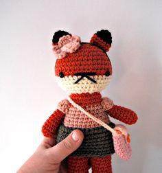girl toy children fox forest crochet amigurumi plushie  by rosieok, $30.00