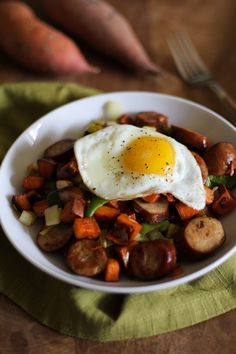 Sweet Potato and Leek Breakfast Hash with Andouille Sausage