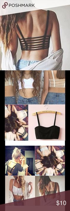 Bralette strappy caged black white bra wireless Like free people Whitney bra but unbranded! NEW without tags. This listing is for ONE. Please specify color after purchase. One black and one white available. Free People Intimates & Sleepwear Bras