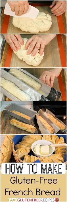 """Do you know how to make gluten-free French bread? This easy """"how to"""" homemade br… Do you know how to make gluten-free French bread? This easy """"how to"""" homemade bread recipe will help you make the best bread ever! Gf Recipes, Dairy Free Recipes, Bread Recipes, Cooking Recipes, Gluten Free French Bread, Patisserie Sans Gluten, Free In French, Gluten Free Living, Sem Lactose"""