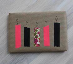idée emballage cadeaux anniv : whashi tape et flamme dessinées...