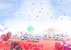 운동회장면,운동회,체육대회,가을운동회,하늘,만국기,꽃,운동장,파란하늘,구름,어린이들,삽화,일러스트,일러스트그림,수채화일러스트