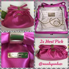 "2x HP♠️KSNY ""Starla"" purse/clutch NWT ♠️I have never seen this GORGEOUS KS evening clutch/purse before! It's stunning! The color is snapdragon pink (669). The 16""-17"" shoulder/xbody chain is light 14KGP & removable. It is satin with a frame closure and top bow. Inside is signature lining w/ a slip pocket and ID plaque. Measures 7.5"" x 11"". Comes with care card. WKRU2424. Thank you! Host Pick 1/8 ""Fresh Fashion""  by the beautiful Tina @emmyrawrs Thank you! xoxo Host Pick 1/11 ""Cozy Chic"" by…"
