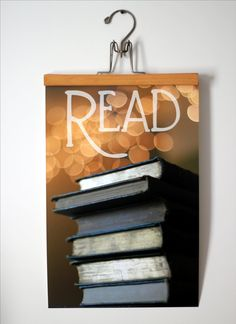 Bokeh Read Poster 12x18 - Books and Reading - Photography and Typography Poster - Book Lover Library Decor - Bokeh Lights and Books Poster