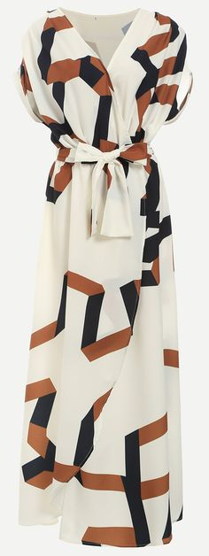 White Geometric Print Split Maxi Dress. Crisp and airy, this dress is in geometric print. Crafted from chiffon with a v neck. The self-tie belted waist and side split will break up your proportions for a flattering fit.