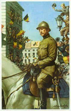 De Triomftocht - Duitsland werd verslagen en ondertekende de wapenstilstand op 11 november 1918. De 22ste hielden de koning, de koningin en de prinsen met het leger van de IJzer een triomfantelijke intocht te Brussel. In de geschiedenis heeft Brussel wellicht nooit zoveel enthousiasme gekende als die dag.