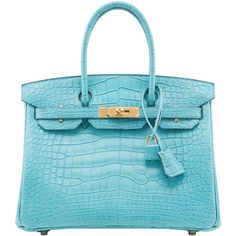 Pre-Owned Hermes Blue Saint Cyr Matte Alligator Birkin 30cm Gold... (733280 MAD) ❤ liked on Polyvore featuring bags, handbags, blue, hermes handbags, preowned handbags, multi color purse, colorful purses and pre owned handbag