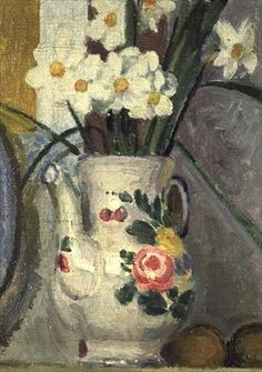 Vanessa Bell: Narcissi, Charleston sold at Sotheby's 2007 © Private Collection Vanessa Bell, Virginia Woolf, Dora Carrington, Art And Illustration, Duncan Grant, Art Floral, Flower Vases, Flower Art, Bell Art