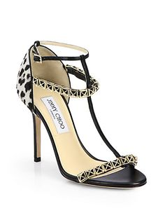 b35eafd64e48  Jimmy Choo - Flint Leopard-Print Calf Hair Sandals - Saks.com Cute