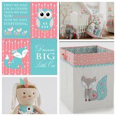 Girl Woodland Nursery, Levtex Baby Fiona Fox, Coral and Teal Nursery, Girl Fox Nursery