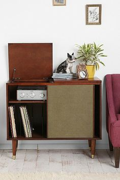 Draper Media Console -- mid-century modern inspired record cabinet from Urban Outfitters Vintage Furniture, Modern Furniture, Furniture Design, Furniture Storage, Cabinet Furniture, Furniture Decor, Granny Chic, Urban Outfitters, Zona Musical