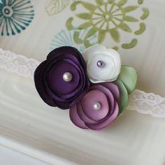 Purple Lilac and Cream Handmade Satin Flower por MyLittlePixies