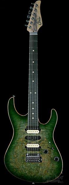 Suhr Custom Modern Burl Top Green Burst with Black Limba Body and Neck