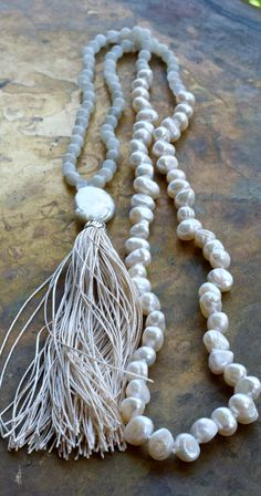 Ivory mala beads Pearl and moonstone boho by ThePillowBook on Etsy