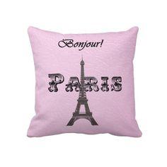 Torre Eiffel de Paris Bonjour do vintage Travesseiro De Decoração