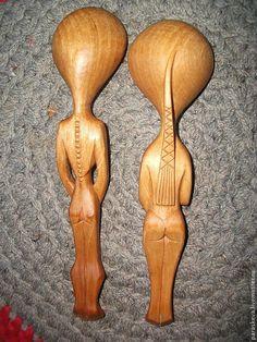 """Купить Деревянные ложки """"Адам и Ева"""" - коричневый, оригинальный подарок, резное дерево, резьба по дереву"""