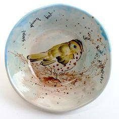 Hand painted bird bowl. LOVE!