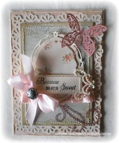 Spellbinders opulent ovals and fancy tags two, Martha Stewart mini daisy punch, Want to Scrap fancy tags two white, Ctampin' Up! vintage brad, Ruby Rock-it Reminisce trimmings, Art Stamps butterfly, Bella bling swirl, ribbon, Becca's peg bow maker, Zutter Distrezz it all.