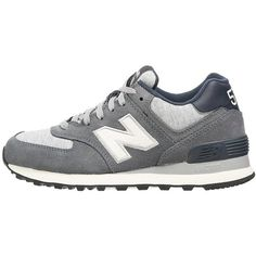 New Balance ML574 Trainers ($105) ❤ liked on Polyvore featuring shoes, sneakers, trainers, grey, round cap, cap toe shoes, new balance sneakers, grey shoes и grey flat shoes