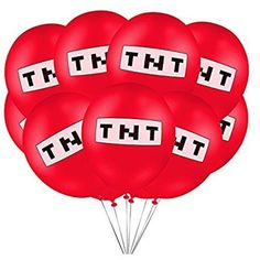 Røde TNT ballonger, minecraft. 10 stk. Minecraft