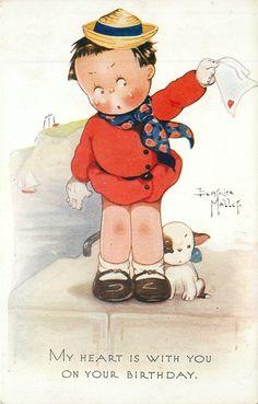 Vintage  Oilette postcard 1934 - Birthday Cute Kiddies Series 7