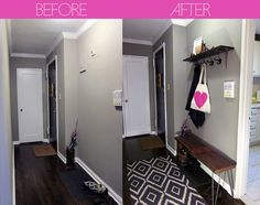 foyer/entry before and after - I really like how they made such a small space so useful and welcoming.