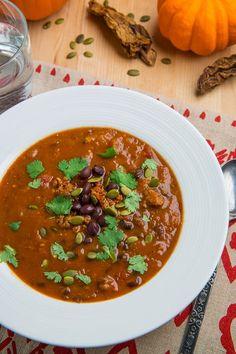 Pumpkin, Chorizo  Black Bean Soup
