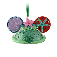 Disney Ariel Ear Hat Ornament | Disney StoreAriel Ear Hat Ornament - Make a splash this holiday with this special Ariel ornament. Designed in the shape of the famous Mickey ears hat, this limited edition piece features glitter and rhinestone accents and even includes a ''signature'' from Ariel herself.