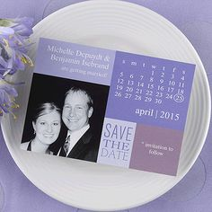 Let guests know how excited you are about them attending your wedding when you send them a save the date calendar magnet. Additional background colors available: Lipstick, Spring, Twilight and Hydrangea(shown).