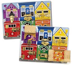 Melissa & Doug Latches Board Undo a latch, swing open the numbered door, and count on fun when the picture beneath is revealed on this wooden play board! Build fine motor skills while learning colors, numbers, animals and more! What You Get Latches Board Toddler Boy Gifts, Gifts For Boys, Girl Toddler, Toddler Toys, Kids Toys, Learning Colors, Learning Toys, Early Learning, Toddler Activity Board