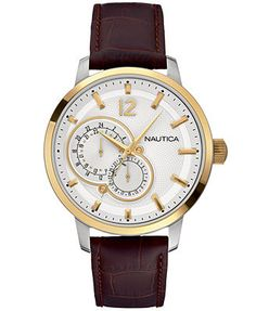 Nautica Watch, Men's Brown Leather Strap 44mm N16648G -- going to go with this one I think -- 165$