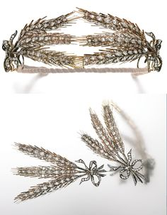 Diamond wheat sheaf tiara, second half of 19th Century. Designed as two wheat sheafs each tied together with a ribbon bow, set throughout with cushion-, pear-shaped, circular-, single-cut and rose diamonds, each wheat sheaf detachable from frame and can be worn as brooches, bows detachable with additional brooch fittings, accompanied by later fitted case. Images: Sotheby's.