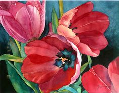 """Red Tulips by Yvonne Hemingway Watercolor ~ 20"""" x 23"""""""