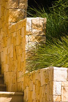 What colour! Designed and constructed by Joanne Green Landscape Design. Sandstone is one of the 3 types of stone geology in culm grassland soil Landscape Materials, Landscape Walls, Green Landscape, Landscape Design, Garden Design, Succulent Landscaping, Pool Landscaping, Steep Backyard, Compound Wall Design