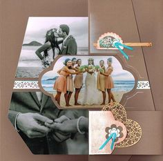 duo fidji Mosaic Wedding, Album Photo Scrapbooking, Diy And Crafts, Paper Crafts, Scrapbook Templates, Family Outing, Wedding Scrapbook, Pli, Stencils