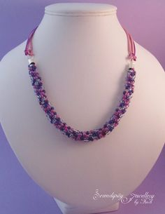 Pink Purple Beaded Kumihimo Necklace, Pink Necklace, Purple Necklace £21.00