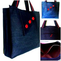 "DENIM BAG 20 Details : - Materials: denim, waterproof lining, buttons and deco tape - closing: ""flap"" with magnetic cap - pockets: 1 - inside and 1 - exterior (with zipper closure) Denim Bag, Tape, Reusable Tote Bags, Exterior, Closure, Buttons, Pockets, Zipper, Deco"