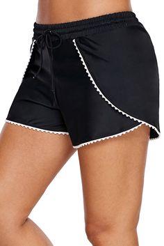 3220560fbc Women White Scalloped Trim Black Swim Trunks Relaxed Fit Tankini Bottoms  Beach Wear Board Shorts