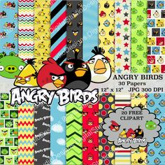 Angry Birds Digital Paper Pack  30 Papers  by DigitalStudioDesigns