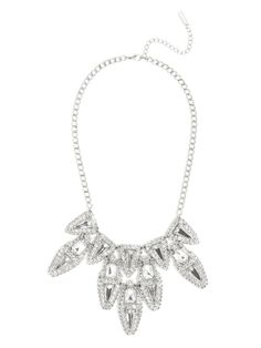 Three-dimensional prismatic gems are the finishing touch to this gorgeous graphic bib, cast in cool silver for a the ultimate in crystal chic.