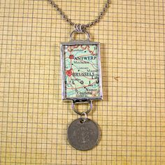 Belgium Map and Coin Pendant Necklace by XOHandworks