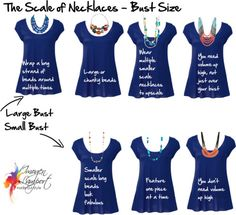 The Scale of Necklaces Relating To Your Bust Size - how to make your bust look larger or smaller using necklaces