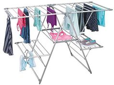 mDesign Expandable Aluminum Clothes Drying Rack for Laundry Room- 5 Shelves, Silver/Gray Indoor Clothes Drying Rack, Laundry Room Drying Rack, Laundry Closet, Small Laundry Rooms, Laundry Room Organization, Laundry Room Design, Mobile Home Kitchens, Shelves For Sale, Clothes Stand