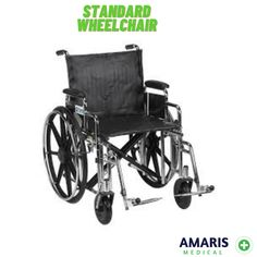 Standard wheelchair Standard manual wheelchairs are the most frequently used wheelchairs in today's market. Standard wheelchairs weigh over 35 lbs. without the front riggings, they have a seat width and depth between 16 and 20 inches, and have fixed or detachable armrests. For this products and more contact us on +254700004255 Manual Wheelchair, Today's Market, Wheelchairs, Baby Strollers, Medical, Marketing, Children, Products, Baby Prams