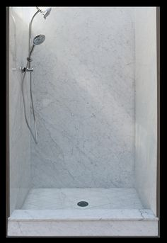 Tired of cleaning your grout lines? Try a grout less natural marble shower surround! Visit us at www.stoneplyresidential.com