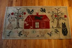 27in x 53in. 1900-49 Great Old Folk Art Cat Primitive Antique Rug with an Early Red House, Birds, Dog