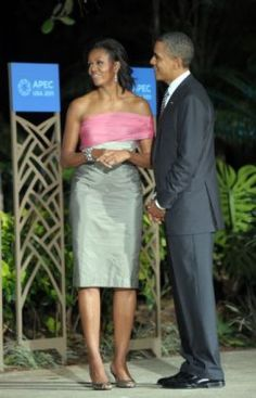 President Obama and Michelle Obama, in custom-designed Vera Wang, wait for leaders to arrive for the