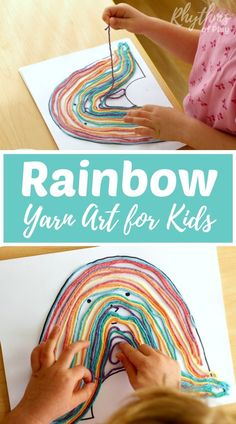 DIY rainbow yarn art project and fine motor activity for kids. Inspired by children's book My Color Is Rainbow
